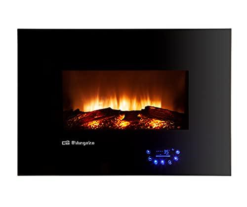 Orbegozo CM 8000 - Chimenea eléctrica, intensidad de llama ajustable, panel de control táctil, mando a distancia, 3 modos de programación, soporte mural, 1800 W