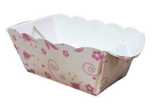 Demmler Papierbackform Set, Einweg Mini Kastenform, Mini-Backform aus Papier (20x Rosa Blüten)