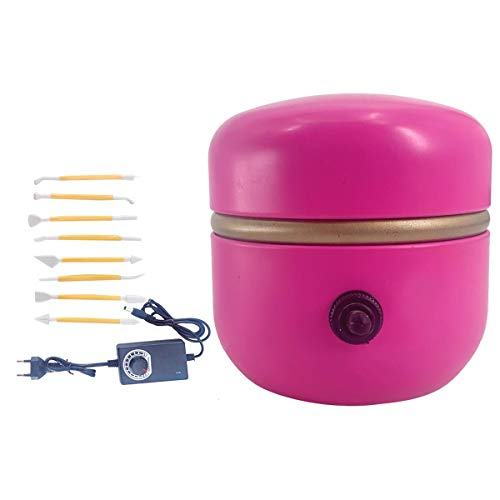 Cozyel Mini Pottery Wheel Machine Mini Töpferscheibe Maschine Mini-Töpfermaschine 1500 RPM Elektrische Plattenspieler Fingertip DIY Ton Werkzeug Keramikkunst mit Tablett für Erwachsene Kinder Keramik