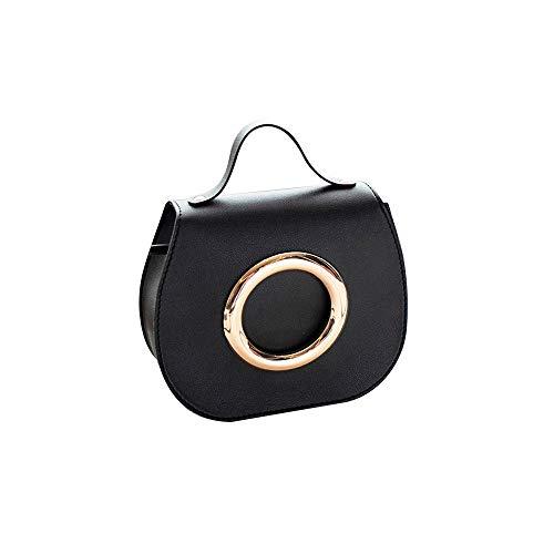 Shoulder Bag for Women Fashion Pure Color Leather Messenger Shoulder Chest Bag Series 1,Rakkiss Black