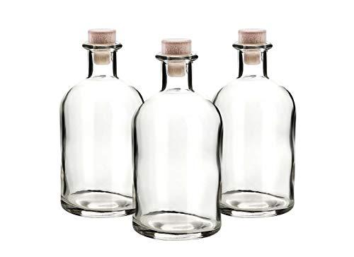 casavetro 12 x 250 ml Glasflaschen Leer New-Bost-HGK Kleine Apotheker-Flasche mit Korken Verschluss, 0,25 Liter l