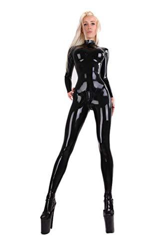 Fontoys-pants Strumpfhosen Schwarzer Sexy Damen Latex Catsuit Mit 3D Cups Im Schritt Hinten Zipper-Black_XXXL