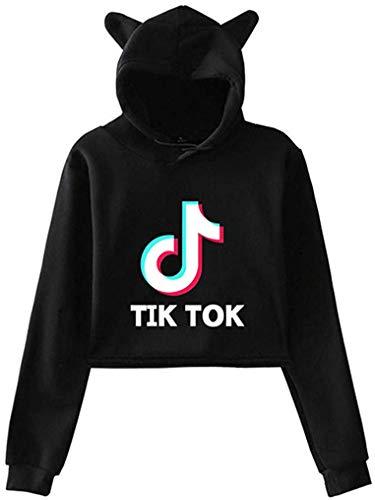 Fashion Girl TIK Tok Kawaii Casual Long Sleeved with Cat Ears Pullovers Sweatshirts Hoodie for Girls (Black, X-Small)