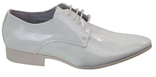 Chaussures Homme Simili Blanc Verni Doublure en Cuir avec Lacets Style Italien Chic soirées Mariages