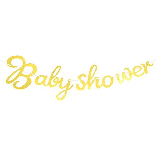TomaiBaby Baby Shower Banderines Guirnalda Banners Baby Banners Adornos Colgantes de Papel Bienvenido Baby Banner Photo Booth Props para Baby Shower Party Celebration (Dorado)