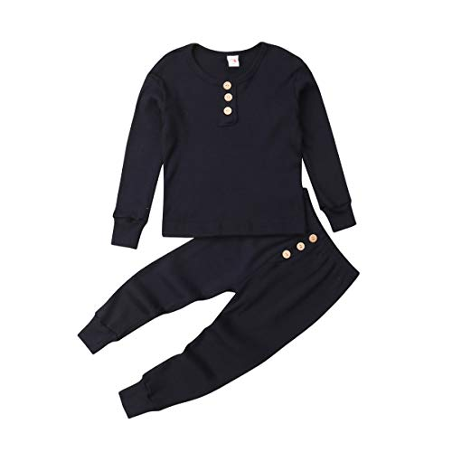 Toddler Baby Boys Girls Snug-fit Thermal Underwear, Long Sleeve Top and Pant 2-Piece Base Layer Long Jogn Set Fall (D-Button Blue, 4-5 Years)