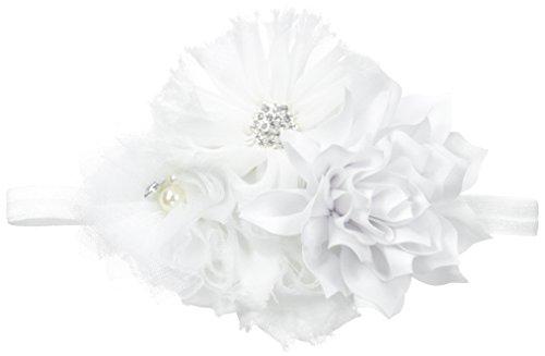 My Lello Baby Headband Shabby Fabric Flower Cluster Stretchy Elastic White