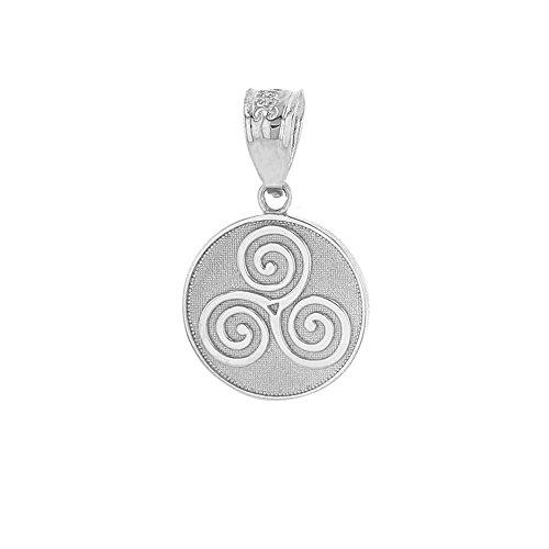 Solid 14k White Gold Celtic Triple Spiral Triskele Round Charm Pendant