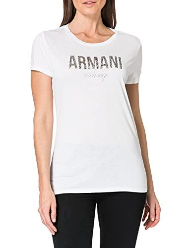 Armani Exchange Armani Glittering Logo Camiseta, Blanco (Optic White 1000), Small para Mujer