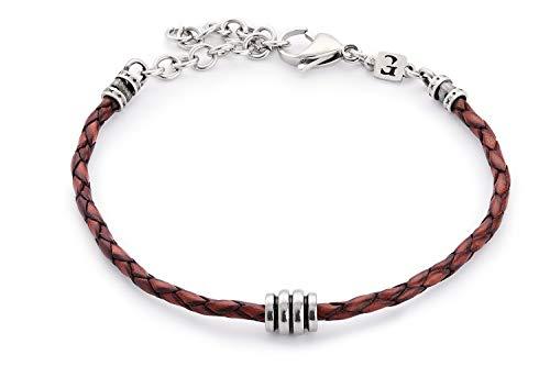 Handmade Leather Bracelet For Men Brown - Genuine Leather Cuff Bracelet For Men Set With Silver Plated Bead - FITS 7'-7.75' WRIST SIZE