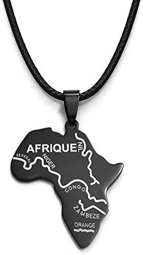 niuziyanfa Co.,ltd Mapa Negro de África Colgantes Cuerdas mapas africanos Collares de joyería Nigeria Sudáfrica Sudán África etíope
