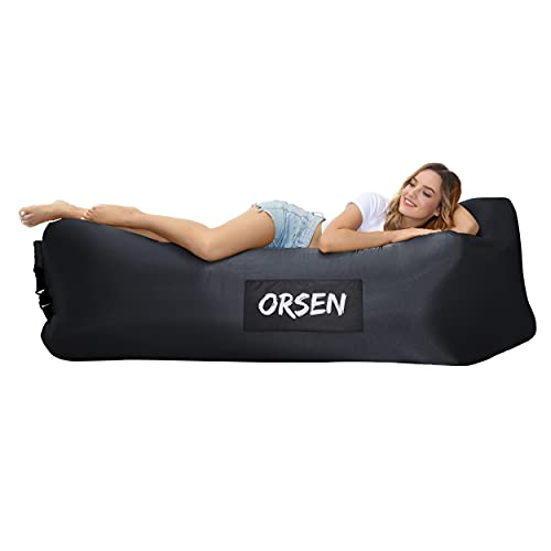 Orsen Inflatable Lounger Air Sofa, Inflatable Couch anti Leakage Camping Chair for Outdoor, Lakeside Portable Hommock with Compression Sacks Camping Accessories for Men and Women