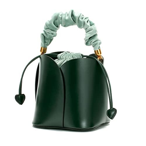 Bolso de embrague para mujer, vintage 'Petal' con cordón de ajuste, fiesta, fin de semana, bolso de trabajo, verde, S