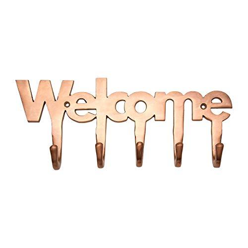 "Welcome Copper Key Holder - Modern Key Holder for Wall � 5 Metal Key Hooks � Mounted Key Hanger � Key Organizer Key Chain Hooks � Decorative Entryway Organization � Decorative Key Rack - 10.5""x4.5"""