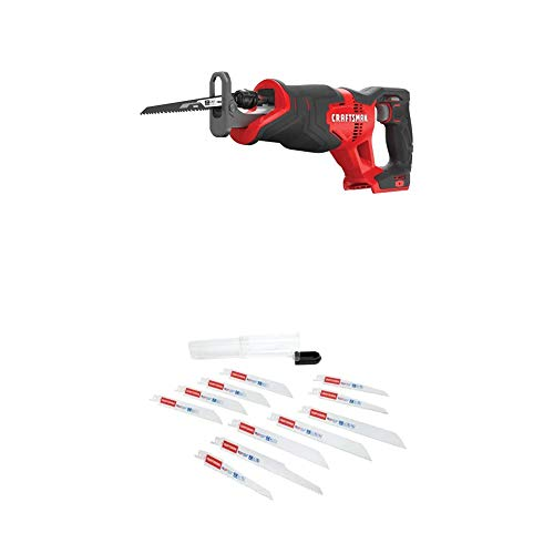 CRAFTSMAN V20 Reciprocating Saw, Cordless, Tool Only with Reciprocating Saw Blades, 11-Piece (CMCS300B & 2058838)