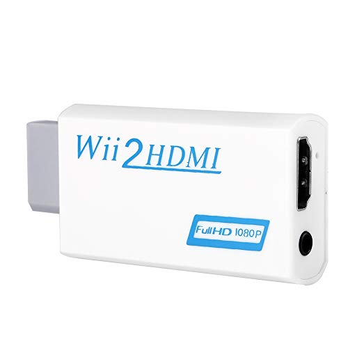 Vbest life Wii-zu-HDMI-Adapter, 720P/1080P-Upscaling Wii-zu-HDMI-Konverter mit 3,5-mm-Audio-Video-Ausgang