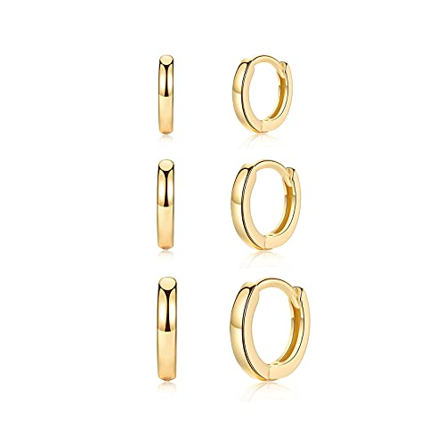 Pendientes de aro pequeños, de plata 925, para hombre y mujer, diámetro 8 mm/10 mm/12 mm, chapados en oro, pendientes de aro de plata, pendientes de aro para dormir, grosor 2 mm, Acero aleado,