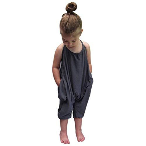 sunnymi Pelele para bebé de 1 a 6 años, para niña, de una pieza, color gris 5-6 Años