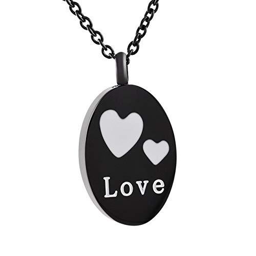 TIANZXS Amor corazón Colgante Ovalado Encanto de Acero Inoxidable Recuerdo urna Colgante Collar cremación joyería para Cenizas Negro