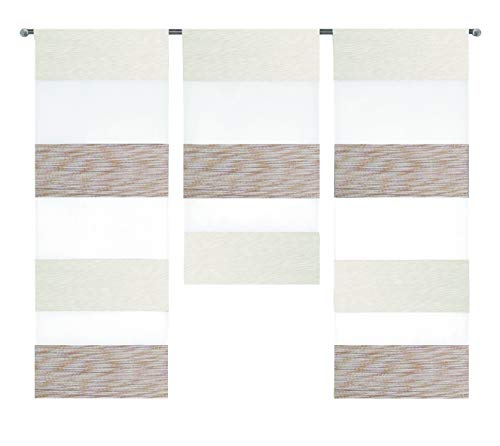 Design Mini Flächenvorhang Set beige weiß 2280-13 | 3 Teile | Scheibengardine Gesamtbreite 90cm (3x30cm) Höhe 80/60/80cm