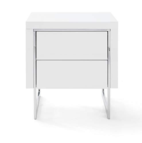 Robas Lund Comodino, Bianco/Cromo, BxHxT 50x55x40 cm