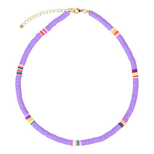 C·QUAN CHI Boho Collier Ras De Cou Collier Perles Heishi 6mm Handmade Collier Femme Ou Homme Collier Hawaien – Ajustable Chain