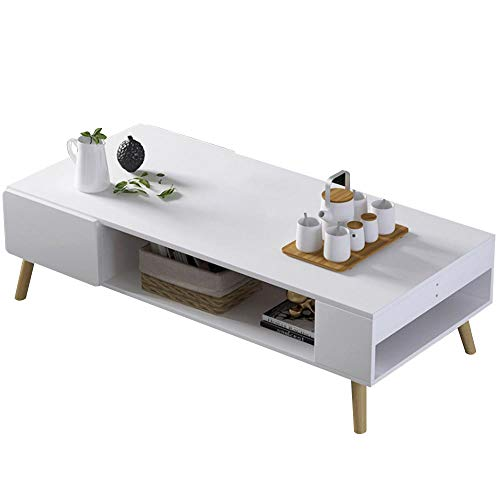 Bakaji Tavolino Divano Tavolo Caffè da Salotto Rettangolare Design Moderno in Legno MDF con Ripiano Inferiore e 2 Cassetti Bianchi Dimensione 100 x 53 x 42 cm (Bianco)