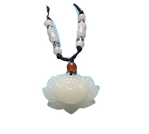 Natural White Jade Lotus Pendant Necklace for Men and Women Bud Water Lily Pendant Blossoming Riches and Honor Jade Pendant