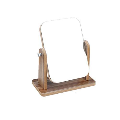 XTXY Espejo De Tocador De Madera Espejo De Maquillaje De Escritorio Marco De Madera Espejo Cosmético De Alta Definición (de Madera 1) (Size : 19*cm*24.5cm)
