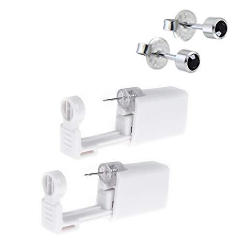 Ear Piercing Gun, Disposable Sterile Ear Piercing Gun Safety Self Ear Piercing Gun Kit Ear Stud Gun with Alcohol Pad for Piercing Kit, Piercing Tool and Piercing Supplies (#2, Black)
