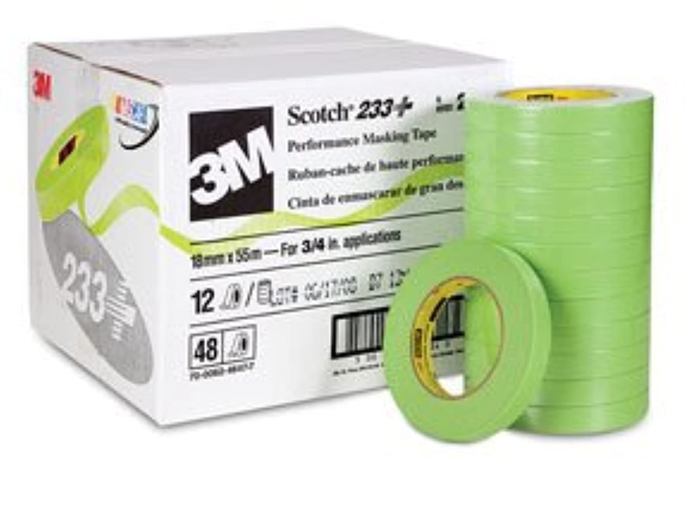 3M 26334 Crl 3M 3/4 Inch Automotive Performance Paint Masking Tape, Green