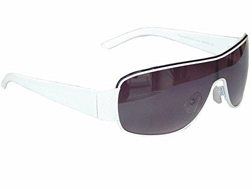 Coole Sonnenbrille Pilotenbrille Brille Monoglas Sportlicher Style Damen Herren M 5 (Weiß)