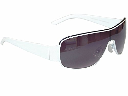 Coole Sonnenbrille Aviator Brille Monoglas Sportlicher Style Damen Herren M 5 (Weiß)