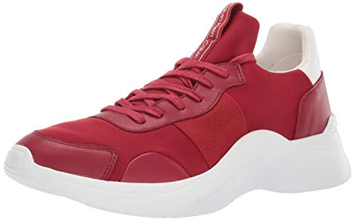 Calvin Klein Men's UZZLE Sneaker, red Nappa Smooth Leather, 9.5 M US