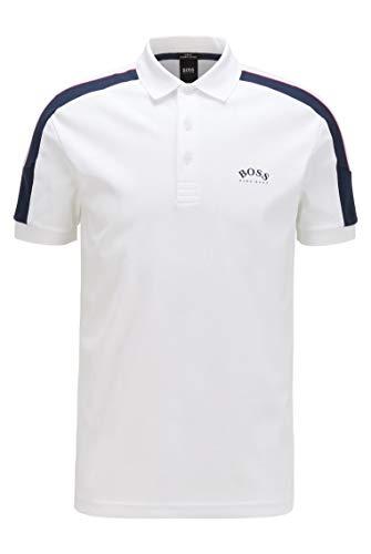 BOSS Herren Paule 1 Poloshirt aus Baumwolle mit Streifen an den Ärmeln