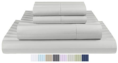 Threadmill Home Linen 500 Thread Count Damask Stripe Cotton Sheets 100% ELS Cotton, Hem Stitch Luxury 4 Piece Bed Sheet Set, Fits Mattresses up to 18 inches deep, Smooth Sateen Weave, King, Silver