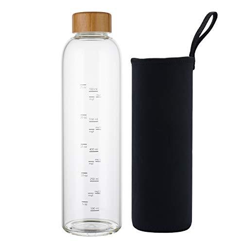 Botella de Agua Cristal 1 Litro con Marcador de Tiempo Funda y Tapa de Bambú Reutilizable para Deportes, Gimnasio, viajes, sin Bpa (Negro)