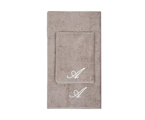Set asciugamani con iniziale ricamata asciugamano viso asciugamano ospite bagno con iniziali ricamate Made in Italy morbidi assorbenti soffici resistenti TORTORA RICAMO PANNA LETTERA A