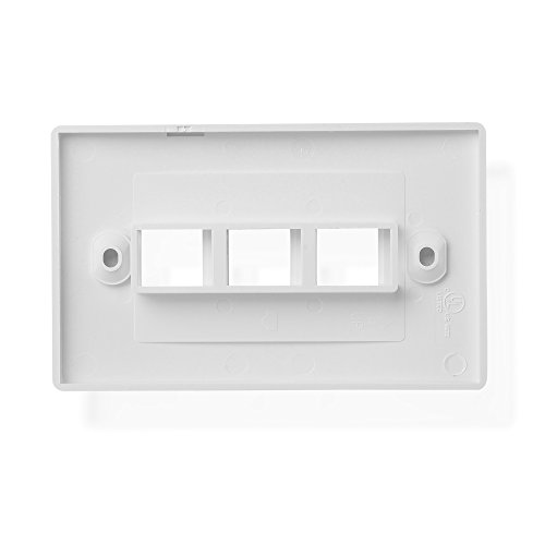 Cable Matters UL Listed 10-Pack 3 Port Keystone Wall Plate (Cat6, Cat5e Ethernet Wall Plate) in White