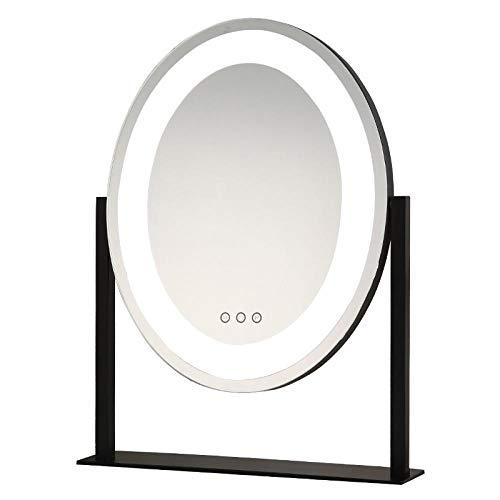 Desktop Makeup Mirror with Lighted Mirror, Rechargeable Makeup Mirror, Bedroom Smart Makeup Mirror-Black (36*47cm)