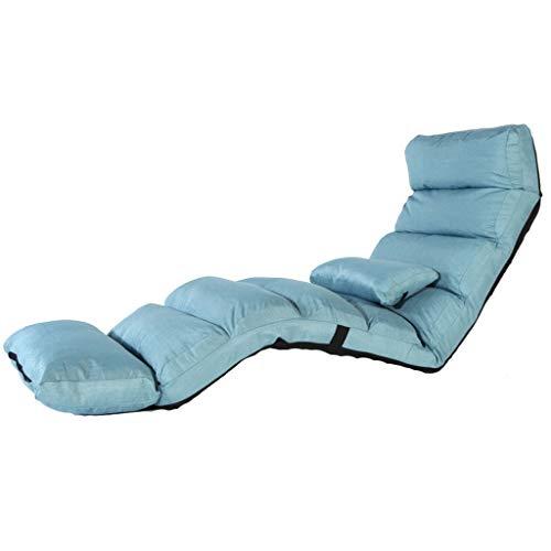1 Pack, Couleur Gris Plancher Chaise Longue Pliante Chaise Longue Moderne Salon Salon Méridienne Canapé-lit Rembourré Inclinable (Couleur : Bleu, Taille : 205 * 56 * 18cm)