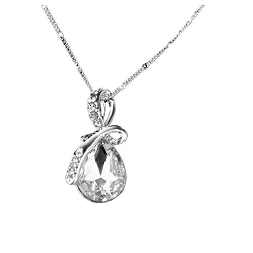 Catenina in argento con pendente a goccia d'acqua in cristallo e strass bianchi