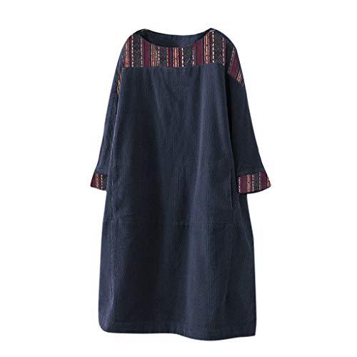 Auifor vrouwen vintage koord etnische print-patchwork-lange mouwzakken lokken jurk