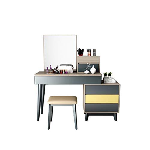 JJSFJH Tocador Dormitorio tocador Mesa Moderna Minimalista nórdico Maquillaje Mesa tocador + Maquillaje Taburete +3 cajones (Color : Green)