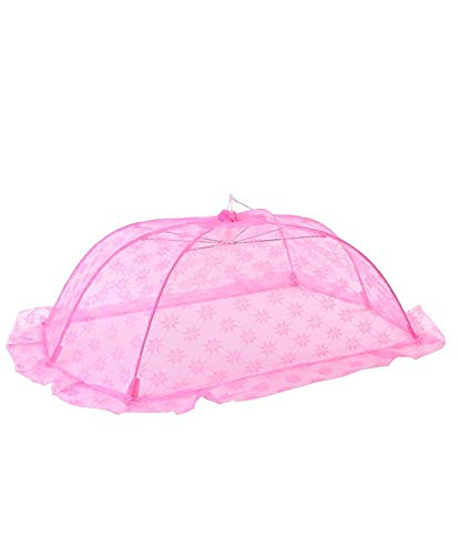 Ssanvi Baby Mosquito Net Umbrella Style Attractive Design for New Born to 18 Month Babies (Small -100L x 70W X 35H) (Pink)