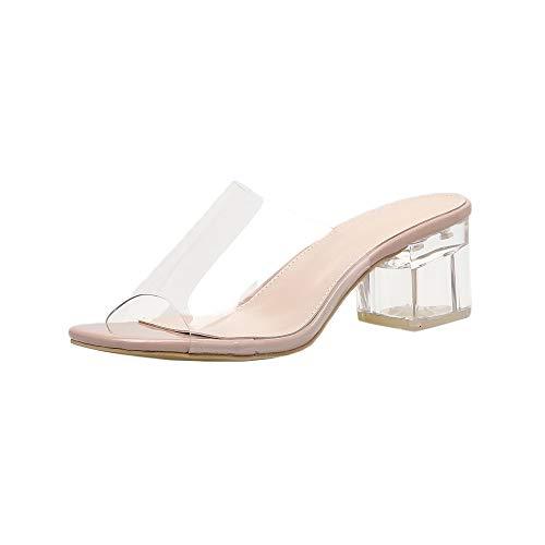 Goddessvan Women's Transparent Lucite Clear Wedge Heel Square Heeled Buckle Strap PVC Open Toe Slip On Sandals Khaki