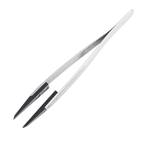 Black Ceramic Tweezers Stainless Steel Heat Resistant to High Temperatures Does not Change Color.- Pointed