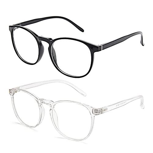 Amazon Brand–Eono Blaulichtfilter Brille für Damen Herren- Nerd Brille ohne Stärke - Anti Blaulicht Brillen für Computer, PC, Gaming, Fernsehen - 2er Pack (Helles Schwarz + Klar)
