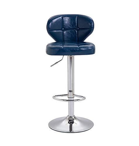 WJSW Barmöbel Barhocker Iron Art Barhocker Kitchen Breakfast Tall Chairs Counter Chair mit PU-Leder Sitz Barhocker mit hoher Rückenlehne für Familien und Geschäftsreisende - Blau