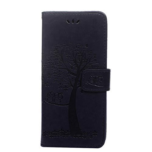 Funda para Nokia 4.2 de piel sintética con tapa, diseño de búho en relieve, con ranuras para tarjetas de poliuretano termoplástico a prueba de golpes, cierre magnético, función atril para Nokia 4.2 2019, morado